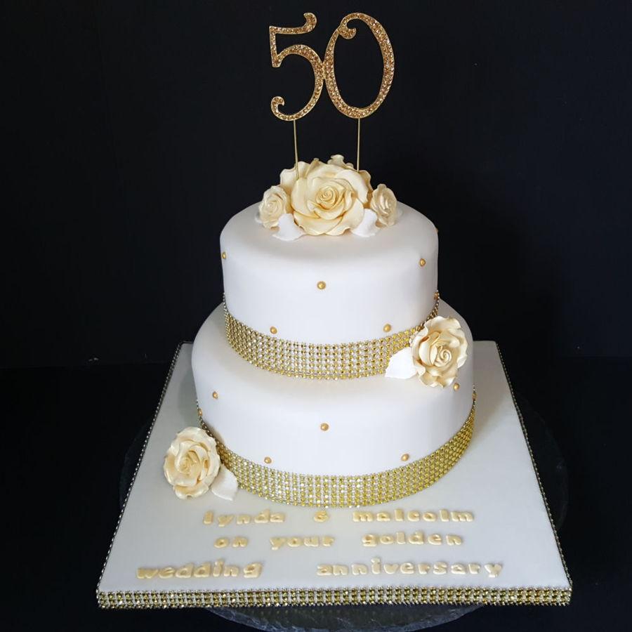 Golden Wedding Anniversary Cake For A Huddersfield Customer