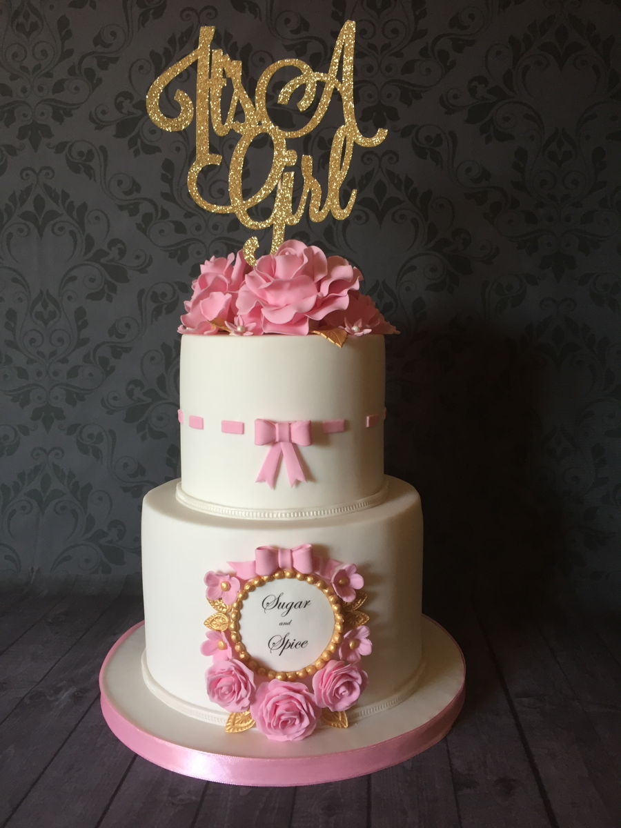 It S A Girl Baby Shower Cake Cakecentral Com