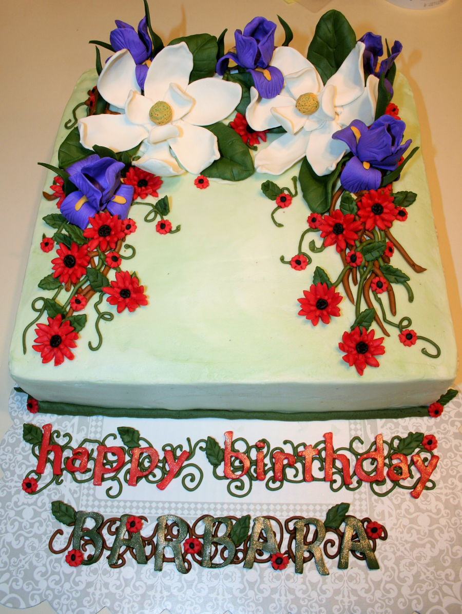 Magnolia Iris Daisy Flower Cake Cakecentral