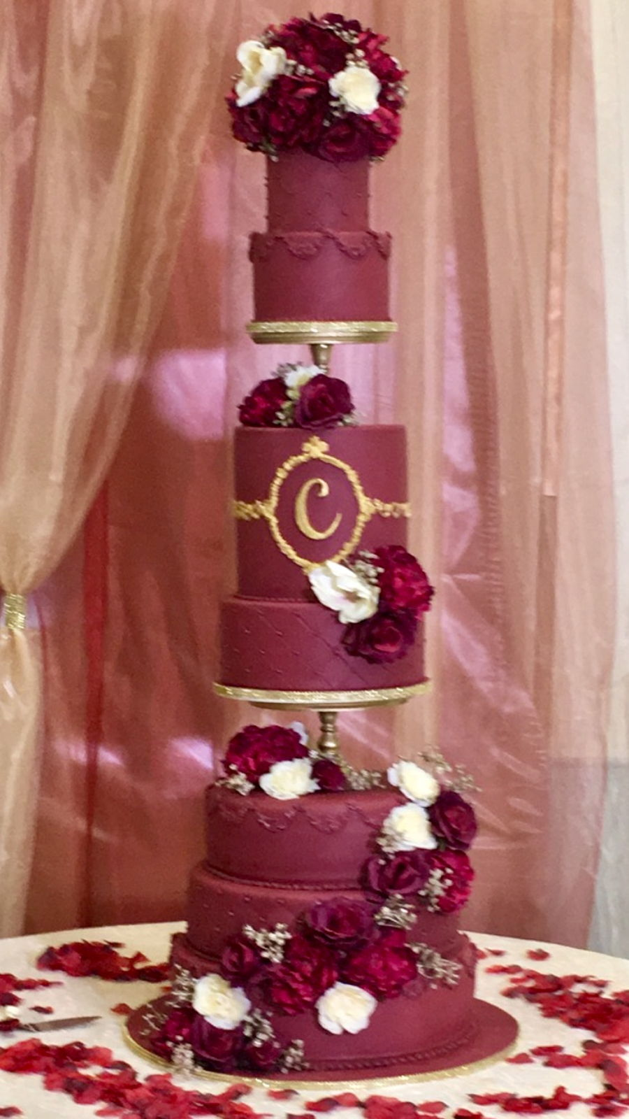 Maroon/wine Quinceañera Cake on Cake Central