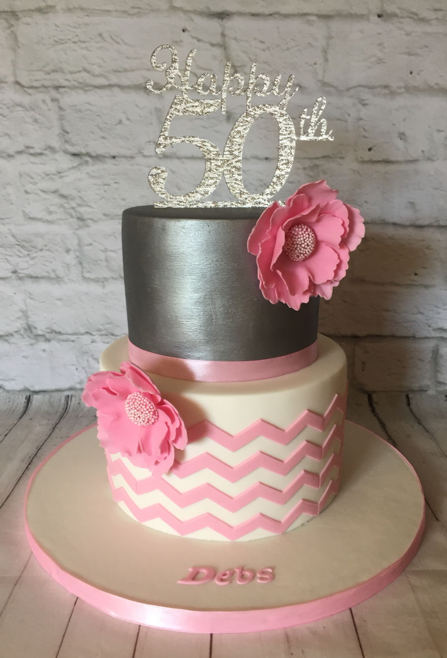 Magnificent Pink Chevron With Silver Cake Cakecentral Com Funny Birthday Cards Online Amentibdeldamsfinfo