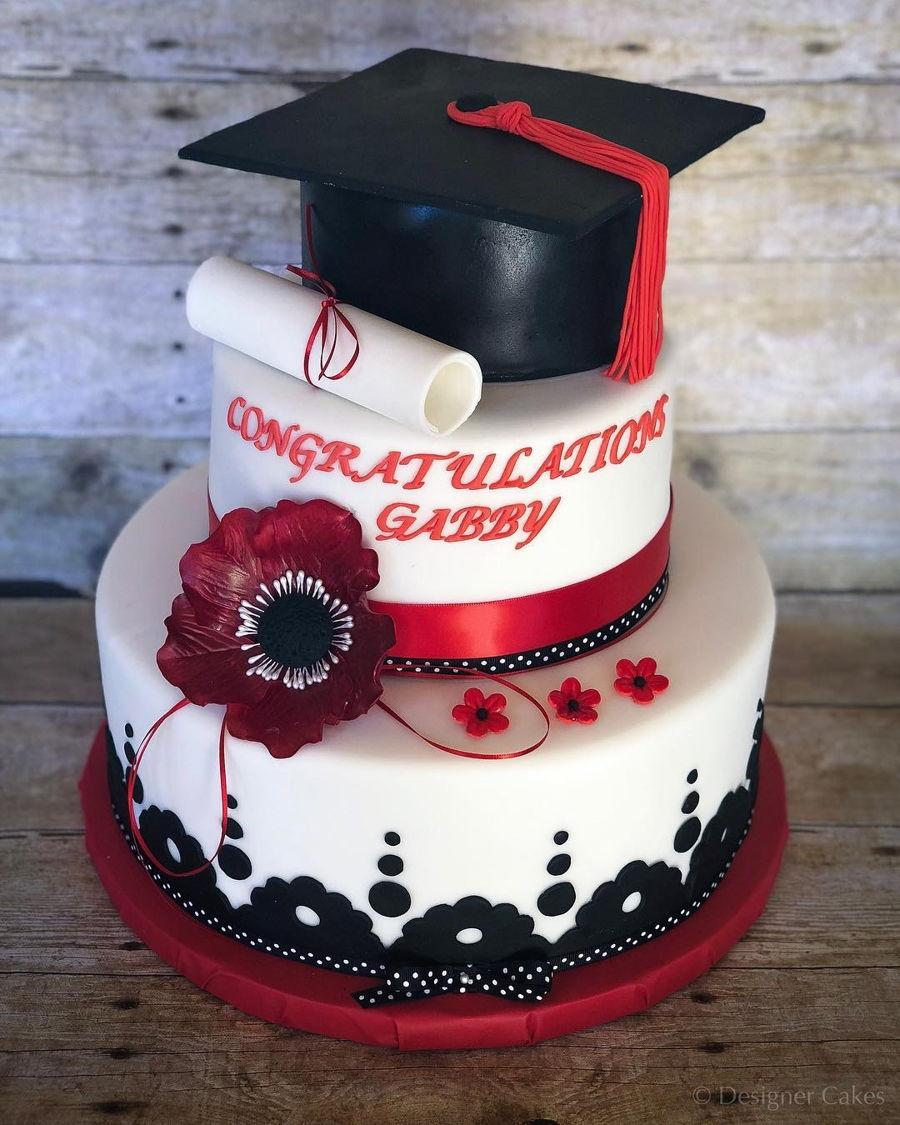 Red Amp Black Graduation Cake Cakecentral Com