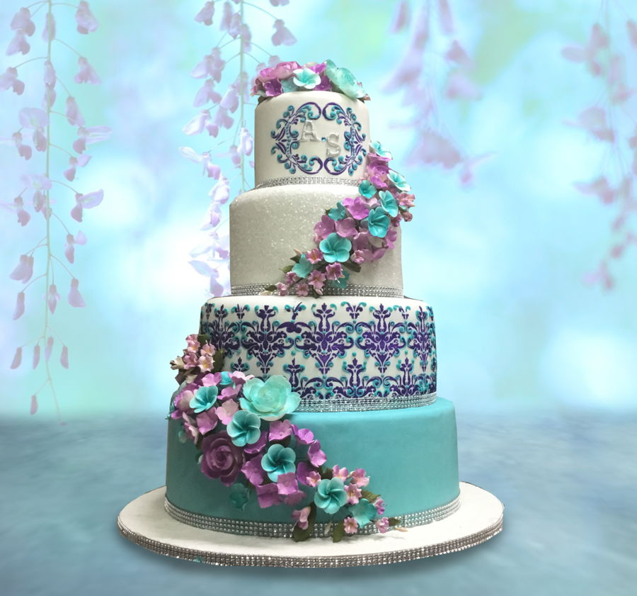 Best Ideas For Purple And Teal Wedding: Teal And Purple Wedding Cake