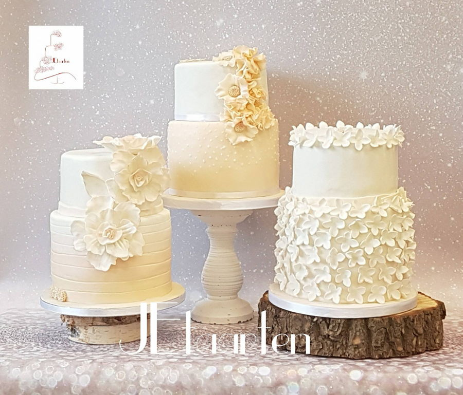 Weddingcake Trio In Pastelpeach on Cake Central