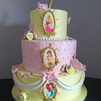 Disney Princess Themed Birthday Cake Three tiered Disney Princess cake