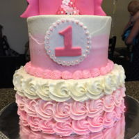 Gemma' I made this for my Granddaughters 1st Birthday. One tier was strawberry cake with a strawberry buttercream filling. The other tier was...