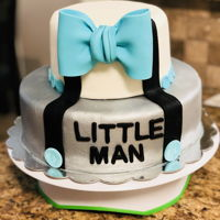 Little Man Baby Shower Cake 2 tiered French vanilla with raspberry filling