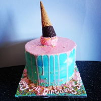 Melting Ice-Cream Cake Buttercream covered cake with colour drip ice-cream