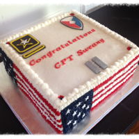 Military Promotion Army promotion cake. Basic white cake with cherry filling