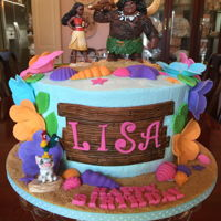Moana Cake Vanilla cake with American buttercream frosting and lemon curd filling. Decorations are fondant and figures are plastic. A fun cake to make...