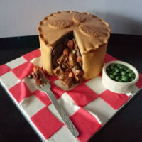 Pie Cake Victoria sponge cake made to look like a meat pie