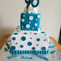 "Stacked Squares 8"" and 4"" cakes iced in buttercream with fondant bow, numbers and polka dots"