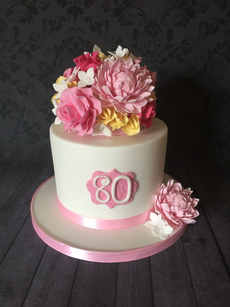 80th Birthday Cake With Sugar Flowers Cakecentral Com