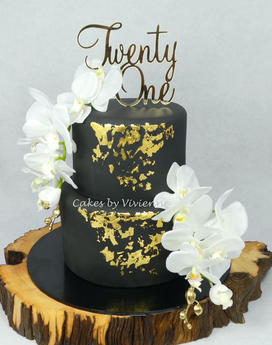 Black And Gold 21St Birthday Cake on Cake Central