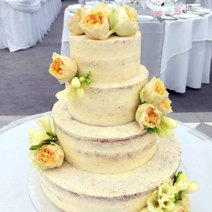 Semi- Naked Wedding Cake With Fresh Flowers - CakeCentral.com