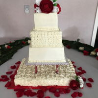 Anniversary Celebration I donated this cake for two Sisters celebrating 75 and 25 years of service in their religious Order. They asked for Red/white flowers. The...