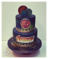 Avengers Infinity War Birthday Cake 2 tier fondant, airbrushed galaxy and planets.