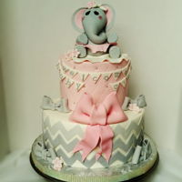 Baby Girl Elephant Baby Shower Pink and Grey, Elephant theme for Baby Girl Baby Shower. All fondant decor