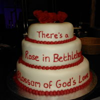 "Christmas Cake 3 tiers, fruit and chocolate, with roses and words from ""Rose of Bethlehem"""