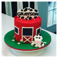 Farm First Birthday Fondant cow, red barn and edible banner.