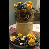 Golden Anniversary Cake Featuring Wilton gold sequins on top and buttercream ruffles on the bottom (Shannon Bond Craftsy course). I also followed a Nicholas Lodge...