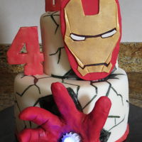 Iron Man Two Tier fondant covered cake with fondant elements and light