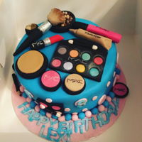 Mac Makeup Cake For a special girl who just loves makeup. Everything edible