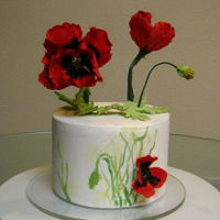 Painted Poppy Cake Just a styrofoam display cake for the gumpaste Poppies I made a few weeks ago for a cake club round robin. A bit of hand painting with...