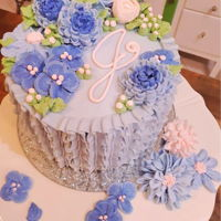 Purple Ruffle Birthday Cake 6 Inch Purple Ruffled Buttercream Birthday cake.would also be beautiful for Mother's Day