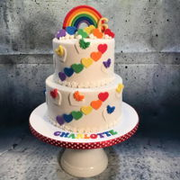 Rainbow And Hearts! Vanilla bean cake