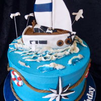 Sailboat Cake This design is by Bana Bir Pasta Yap, though I did change the boat size as it's fondant filled with Cocopop/marshmallow mix. The rest...
