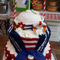 Spin On A Nautical Cake 75th Birthday Cake for a lady boater. Wanted to make something a bit unexpected.flags spell out her name and age.