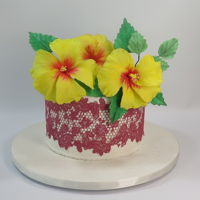 Yellow Hibiscus & Red Lace Cake Mbalaska 8-9-2018 sugar flowers & cake lace on fondant.