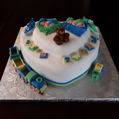 Baby Shower Cake For Twins.