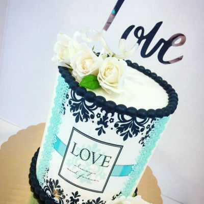 Damask Wedding Shower Cake