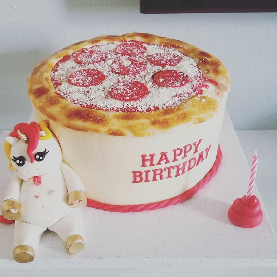 Groovy Fat Unicorn Pizza Cakecentral Com Funny Birthday Cards Online Necthendildamsfinfo