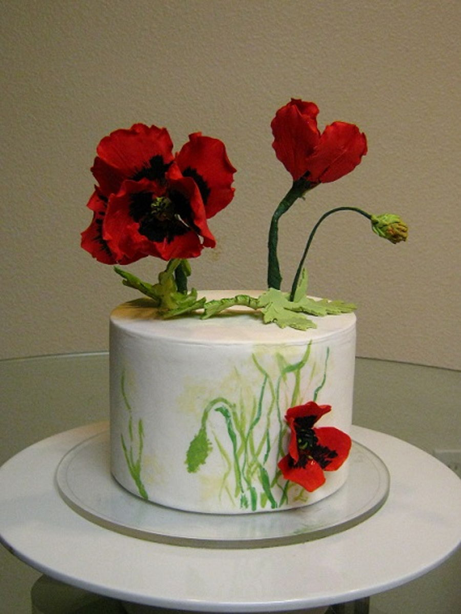 Painted Poppy Cake on Cake Central