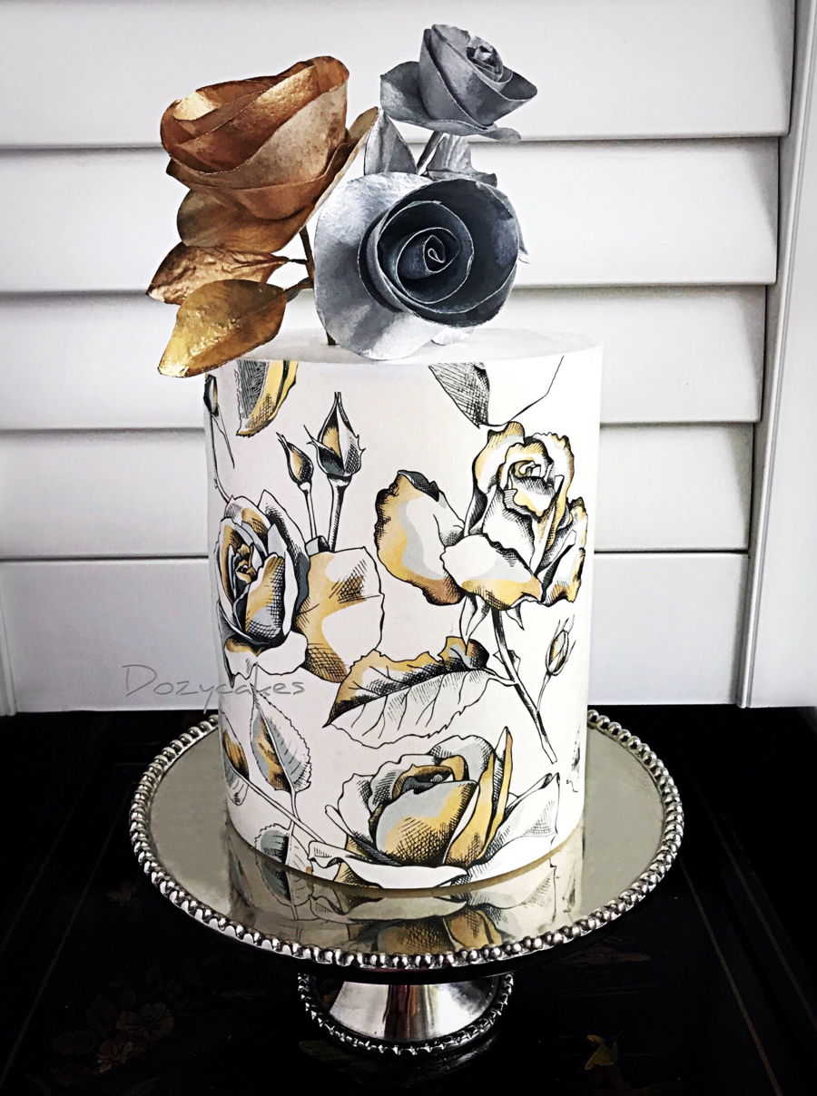 Silver And Gold Wafer Paper on Cake Central