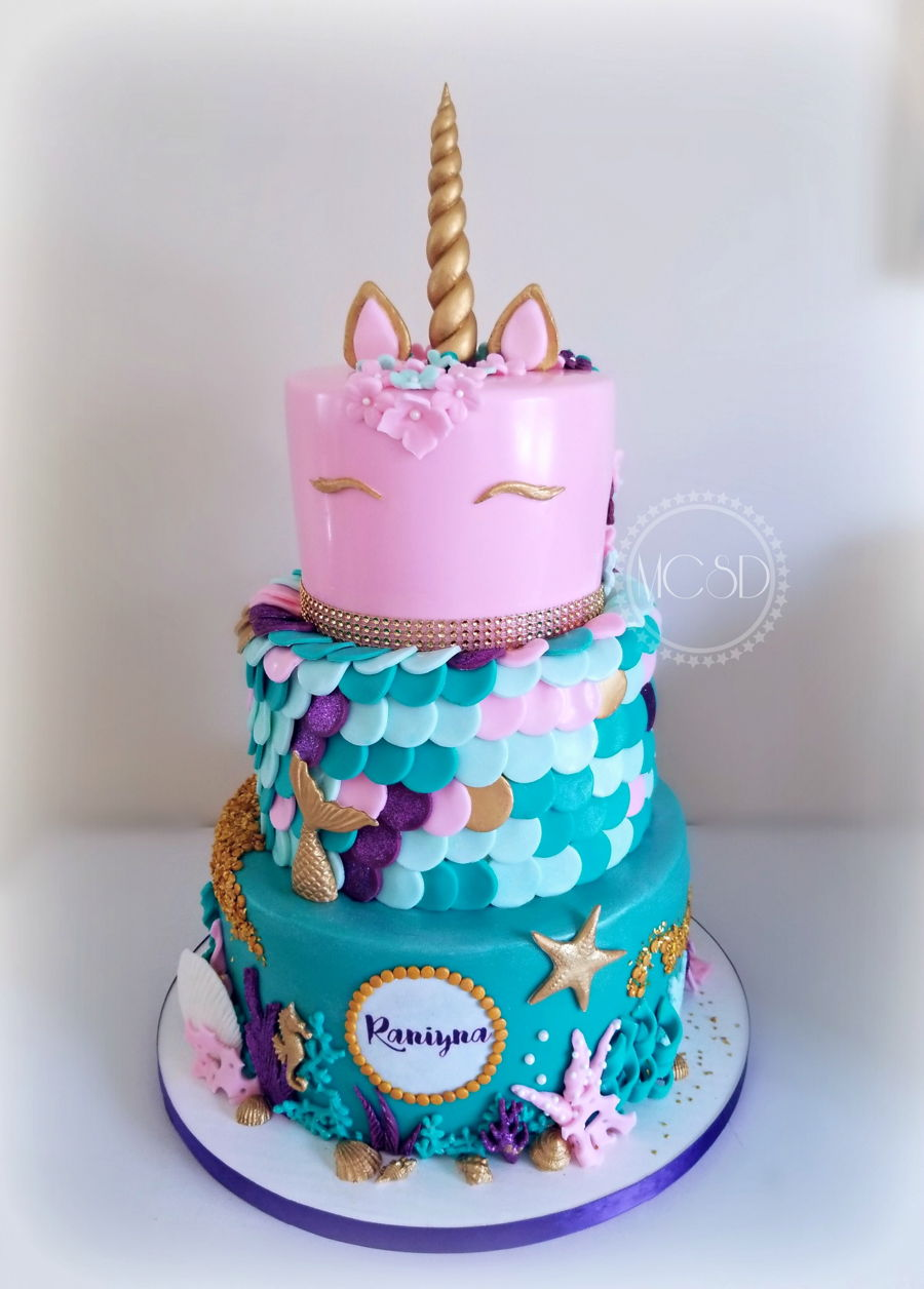Unicorn Mermaid 1St Birthday Cake On Central