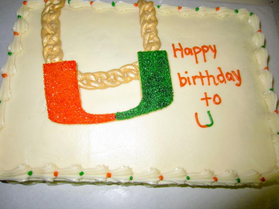 University Of Miami Hurricanes Turnover Chain Birthday Cake