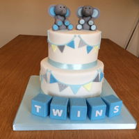 Baby Shower Cake for twins baby shower