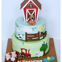 Barn Cake! Barn Cake For A Farm Animal Lover On His 1st B'day..