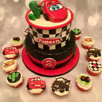 Cars Cake Cars themed cake with fondant Lightening Mc Queen