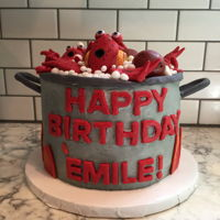 Crawfish Boil Smash Cake Small crawfish boil pot with comical crawfish, potatoes and corn for smash cake. Strawberry cake with vanilla buttercream. Fondant...