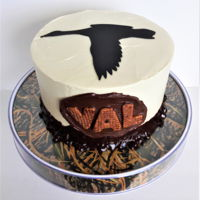 Goose Hunting Cake A birthday cake for my husband. Topper cut from fondant with my Circut. Ganache mud border.