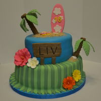 Hawaiian Themed Birthday Cake All fondant with gumpaste/fondant decorations. Used a plastic straw to support the tree trunks.