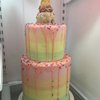Pastel Ice-Cream Cone Drip Cake All buttercream. 8 inch double barrel with 6 inch top tier.
