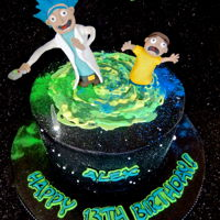 Rick And Morty Cake Black buttercream with white chocolate swirl for the wormhole. Handmade fondant figurines.