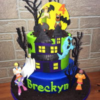 "Scooby Doo Cake 1/2 8"", 6"" buttercream cake with fondant deco, chocolate trees, and toy figurines."