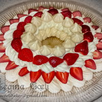 Strawberry Pavlova Ring A nice Sunday treat for my family... Sweet crunchy meringue with whipped cream and strawberries... perfect for the end of summer.